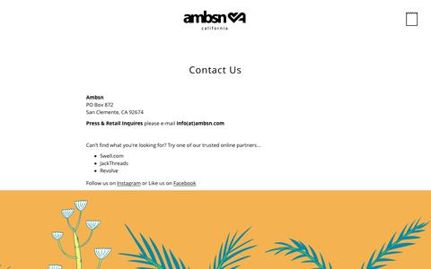 Screenshot of Contact Page ambsn.com - Contact Us – ambsn - captured July 31, 2018
