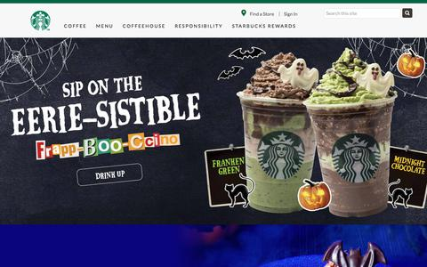 Screenshot of Home Page starbucks.com.sg - Starbucks Coffee Company - captured Oct. 9, 2019