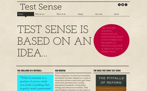 Screenshot of Home Page testsense.com - Test Sense - captured Aug. 15, 2015