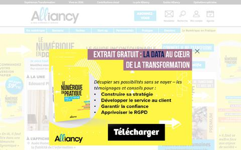 Screenshot of Home Page alliancy.fr - Alliancy, le mag Magazine de la presse Economique & Business - captured Sept. 22, 2018