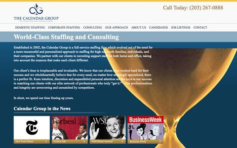 Screenshot of Home Page thecalendargroup.com - The Calendar Group - Domestic Staffing & Consulting Agency - captured Sept. 30, 2014