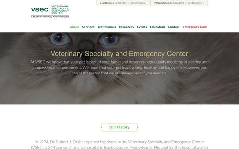 Screenshot of About Page vsecvet.com - Veterinary Specialty & Emergency Center - About Veterinary Specialty Emergency Center - captured Feb. 14, 2016