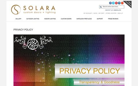 Screenshot of Privacy Page solaralighting.com - Privacy Policy - captured Oct. 22, 2017