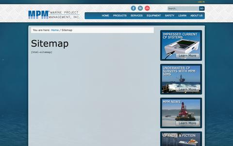 Screenshot of Site Map Page mpmi.com - Sitemap | Marine Project Management, Inc - captured Oct. 2, 2018