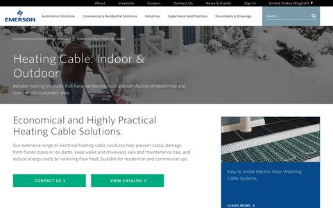 Screenshot of emerson.com - Heating Cable: Indoor and Outboor - captured Dec. 12, 2017