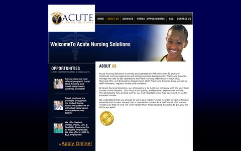 Screenshot of About Page acutenursingsolutions.com - Acute Nursing Solutions - captured Feb. 5, 2016
