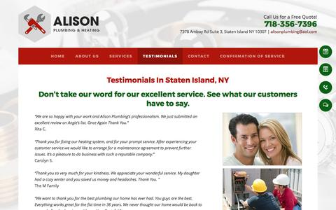 Screenshot of Testimonials Page alisonplumbing.com - HVAC Contractors - Staten Island, NY - Alison Plumbing & Heating - captured April 24, 2017