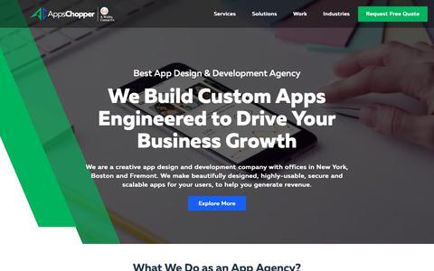 Screenshot of Home Page appschopper.com - App Development Company: Best App Design & Development Services - captured Oct. 21, 2018