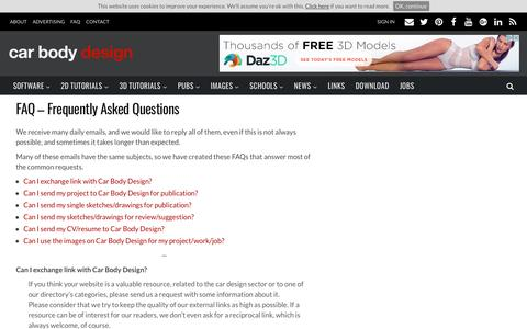 Screenshot of FAQ Page carbodydesign.com - FAQ – Frequently Asked Questions   - Car Body Design - captured May 10, 2017