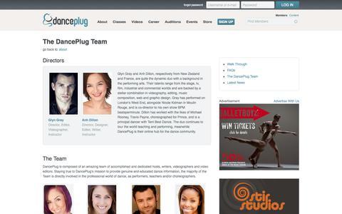 Screenshot of Team Page danceplug.com - The DancePlug Team \\ DancePlug - captured Oct. 10, 2014