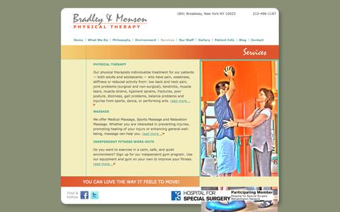 Screenshot of Services Page bradleymonson.com - Services «  Bradley & Monson Physical Therapy - captured Oct. 27, 2014