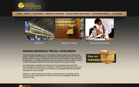 Screenshot of Home Page ubc.us - Home - United Brokerage Packaging - captured Oct. 1, 2014