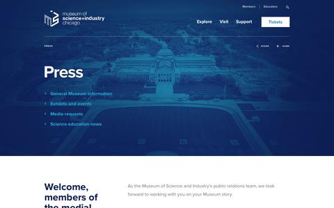 Screenshot of Press Page msichicago.org - Press - Museum of Science and Industry - captured Sept. 24, 2018
