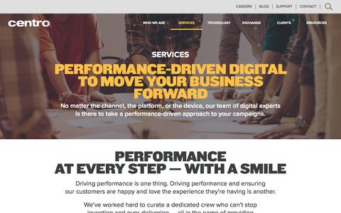 Screenshot of Services Page centro.net - Online Media Buying Solutions | Centro - captured July 12, 2017