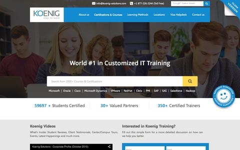 Screenshot of Home Page koenig-solutions.com - Microsoft Training Courses India, Cisco Networking Academy, Oracle Certification Course - Koenig Solutions - captured Nov. 2, 2015