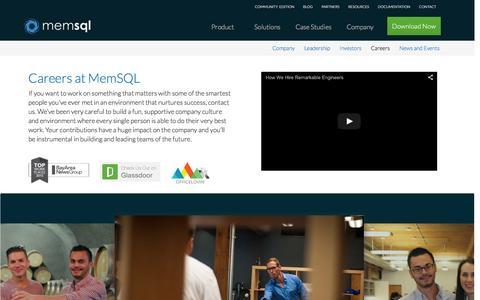 Screenshot of Jobs Page memsql.com - Work at MemSQL - MemSQL Careers - captured Dec. 11, 2015