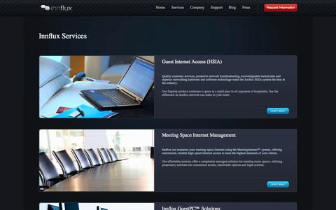 Screenshot of Services Page innflux.com - Services - Network Services - HSIA Services - Innflux - captured Sept. 25, 2014