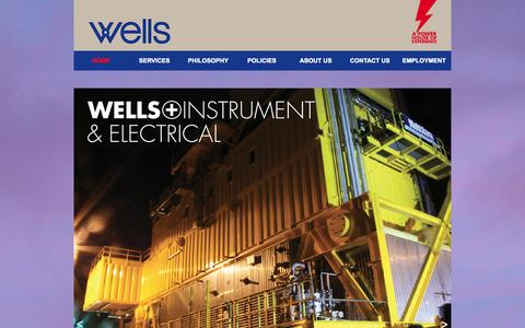 Screenshot of Home Page wells.co.nz - Wells Instrument, Electrical, Automation and Enterprise Mobility services - captured Oct. 7, 2014