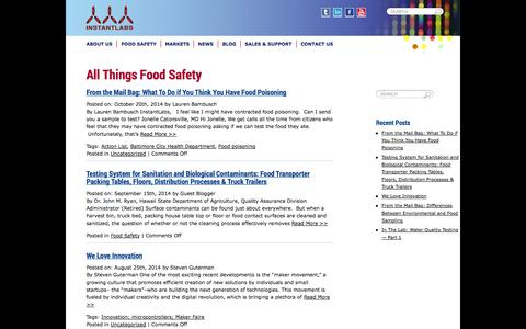 Screenshot of Blog instantlabs.com - InstantLabs - InstantLabs Hunter, a fully-integrated, portable & affordable PCR platform for rapid, accurate food safety pathogen detection and species identification - captured Oct. 22, 2014