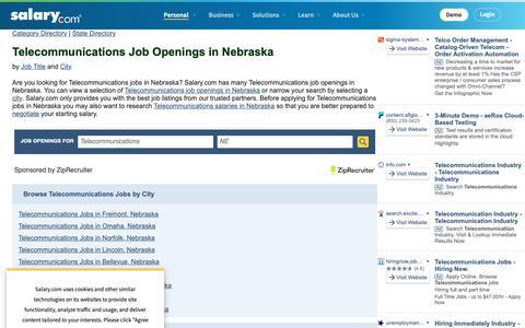Screenshot of Jobs Page salary.com - Telecommunications Job Openings in Nebraska | Salary.com - captured Oct. 26, 2018