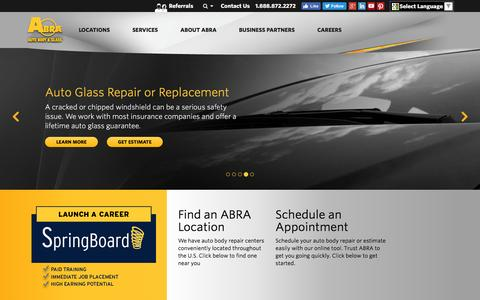 Screenshot of Home Page abraauto.com - ABRA Auto Body & Glass | Auto Body Repair, Auto Glass Repair - captured July 15, 2016