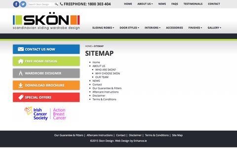 Screenshot of Site Map Page skondesign.com - Sliding Wardrobes   Built In Wardrobes   Custom Built Wardrobes / Sitemap - captured Dec. 9, 2015