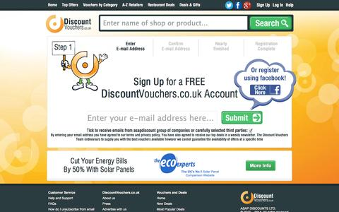 Screenshot of Signup Page discountvouchers.co.uk - Discount Vouchers user account management. - captured Sept. 23, 2014