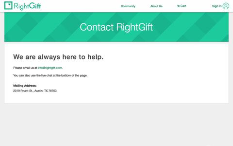 Screenshot of Contact Page rightgift.com - Contact Us, RightGift - captured Sept. 21, 2018