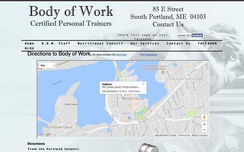 Screenshot of Maps & Directions Page bodyofworkme.com - Body of Work Directions - captured Oct. 10, 2017