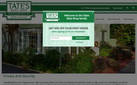 Screenshot of Privacy Page tatesbakeshop.com - Privacy and Security, Data Security - Tate's Bake Shop - captured Nov. 20, 2015