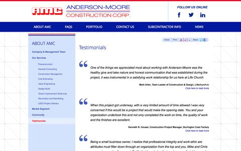 Screenshot of Testimonials Page amcbuild.com - Testimonials | Anderson Moore Construction - captured Oct. 27, 2014