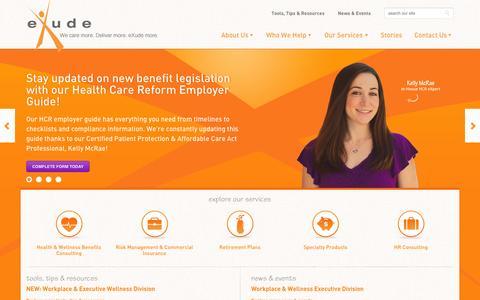 Screenshot of Home Page exudeinc.com - Health & Wellness Benefits, Risk Management & Commerical Insurance, HR Consulting, Retirement Plans | eXude Inc. - captured Sept. 30, 2014
