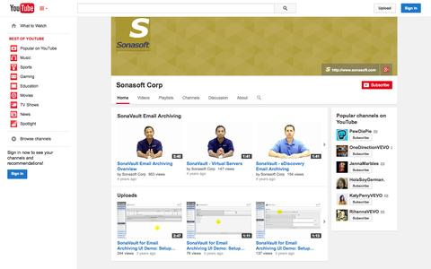 Screenshot of YouTube Page youtube.com - Sonasoft Corp  - YouTube - captured Oct. 31, 2014