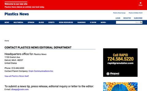 Screenshot of Contact Page plasticsnews.com - Contact Plastics News Editorial Department | Plastics News - captured May 24, 2019