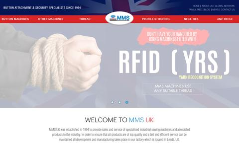 Screenshot of Home Page mmswebsite.com - MMS button attaching machines manufacturers UK Button Machines - captured Nov. 11, 2018
