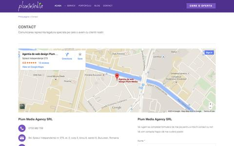 Screenshot of Contact Page plummedia.ro - Contact Plum Media Agency - captured Oct. 3, 2014