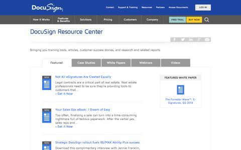 Screenshot of Case Studies Page docusign.com - Resource Center | DocuSign - captured Oct. 28, 2014