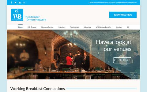 Screenshot of Home Page working-breakfast.com - Business Breakfast Networking Meetings and Events in Bristol - Working Breakfats - captured Oct. 20, 2018