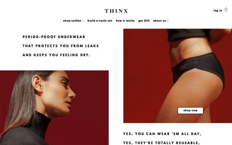 Screenshot of Home Page shethinx.com - THINX | Period Panties For Modern Women - captured April 25, 2016