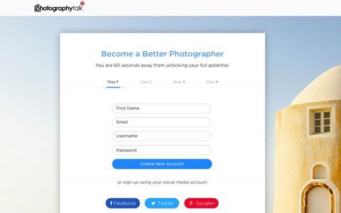 Screenshot of Signup Page photographytalk.com - SignUp - captured May 16, 2016