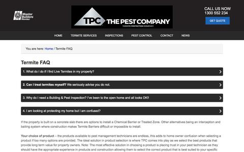 Screenshot of FAQ Page thepestcompany.com.au - The Pest Company - Termites, Frequently asked Questions - captured Aug. 28, 2019