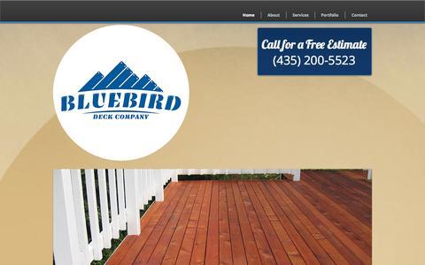 Screenshot of Home Page bluebirddeck.com - Bluebird Deck Company | Park City | Deck Restoration and Maintenance - captured Oct. 5, 2014