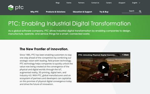 Screenshot of About Page ptc.com - About PTC: Enabling Industrial Digital Transformation   PTC - captured June 9, 2019