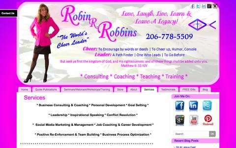 Screenshot of Services Page robinrobbins.com - Services   - Robin R. Robbins: The Worlds Cheer Leader - captured Oct. 26, 2014