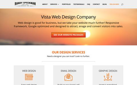 Screenshot of Home Page rsdweb.net - Vista Web Design & Graphic Design - Randy Speckman Design, Inc. - captured Oct. 19, 2017