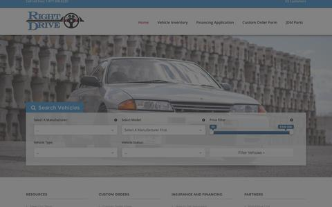 Screenshot of Home Page rightdrive.ca - Right Hand Drive Vehicles for Sale - RightDrive - Est 2007 - captured Aug. 12, 2015