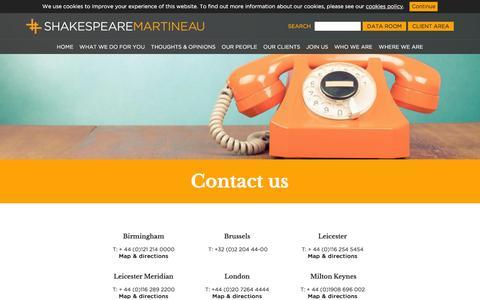 Screenshot of Contact Page shma.co.uk - Shakespeare Martineau - Contact us - Shakespeare Martineau - captured March 8, 2016