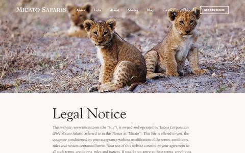 Screenshot of Terms Page micato.com - Terms of Service - Micato Luxury Safaris - captured Dec. 12, 2018