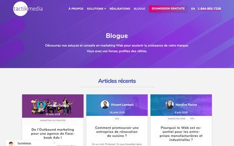 Screenshot of Blog tactikmedia.com - Blogue - TactikMedia - captured Oct. 20, 2018