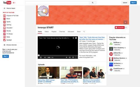 Screenshot of YouTube Page youtube.com - Innovyz START  - YouTube - captured Oct. 23, 2014